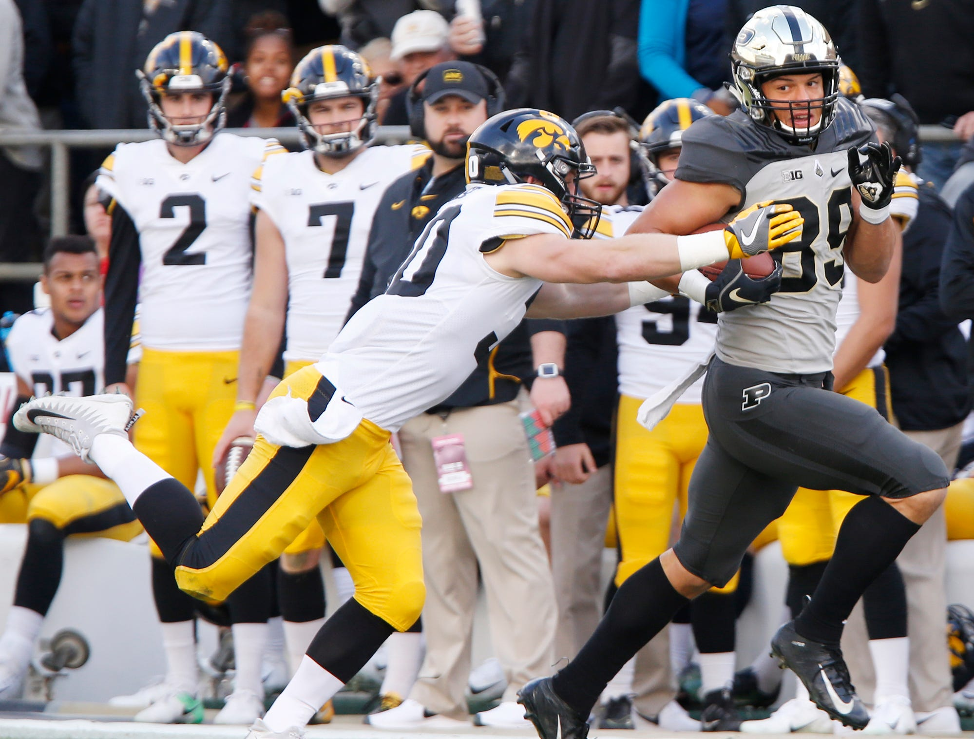 Purdue tight end Brycen Hopkins with a pass reception in the first half against Iowa Saturday, November 3, 2018, at Ross-Ade Stadium. Purdue defeated Iowa 38-36.