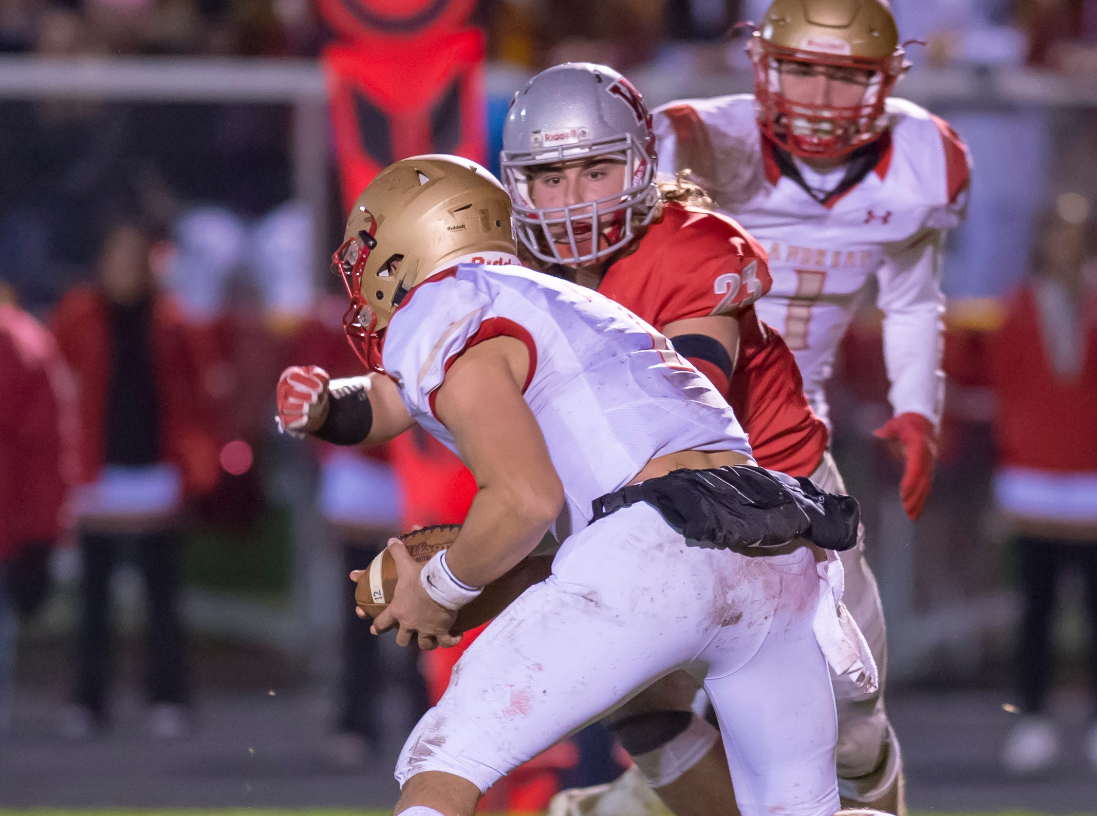 Justin Vasili racks up another tackle for loss in the sectional championship game between West Lafayette and Andrean.
