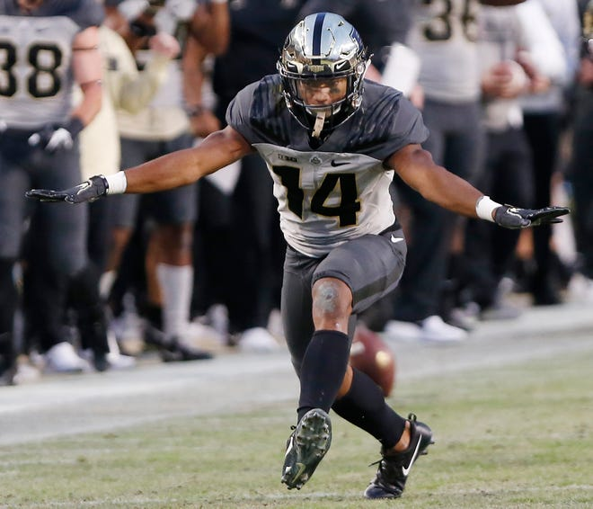 Antonio Blackmon of Purdue reacts after breaking up a pass intended for Ihmir Smith-Marsette of Iowa Saturday, November 3, 2018, at Ross-Ade Stadium. Purdue defeated Iowa 38-36.