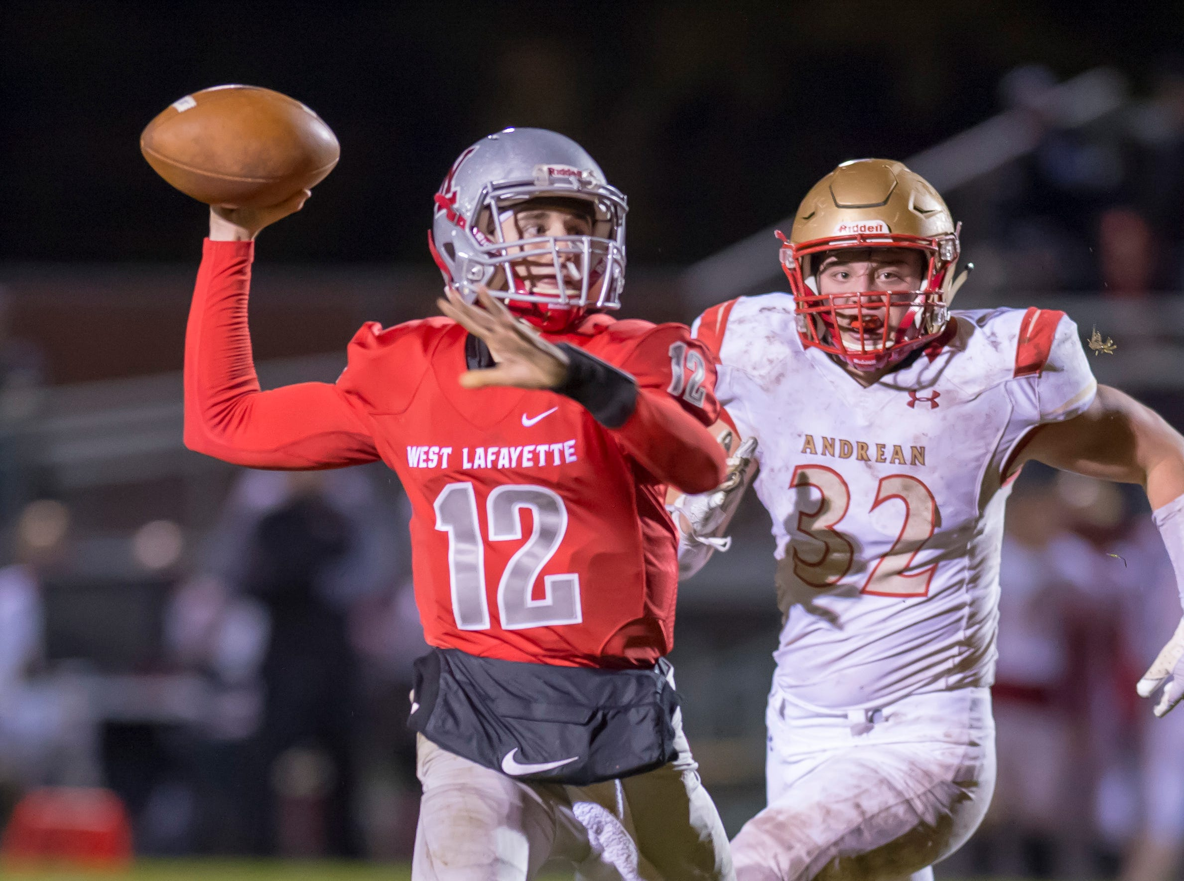 Kyle Adams launches a deep ball in the first half  the sectional championship game between West Lafayette and Andrean.