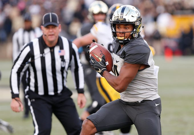 Rondale Moore of Purdue with a first half pass reception against Iowa Saturday, November 3, 2018, at Ross-Ade Stadium.