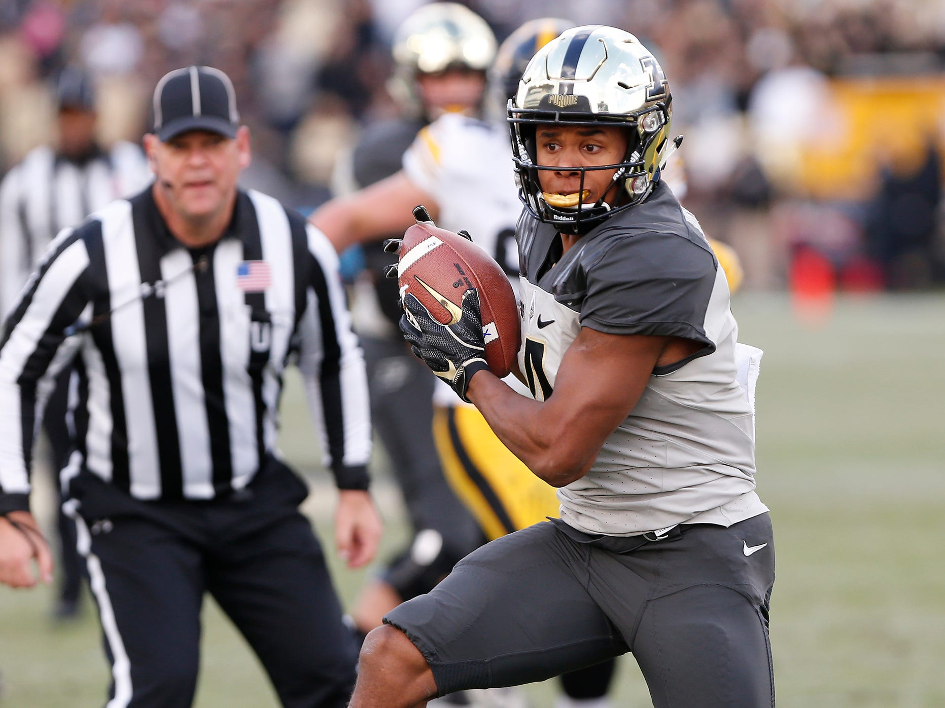 Rondale Moore of Purdue with a first half pass reception against Iowa Saturday, November 3, 2018, at Ross-Ade Stadium. Purdue defeated Iowa 38-36.