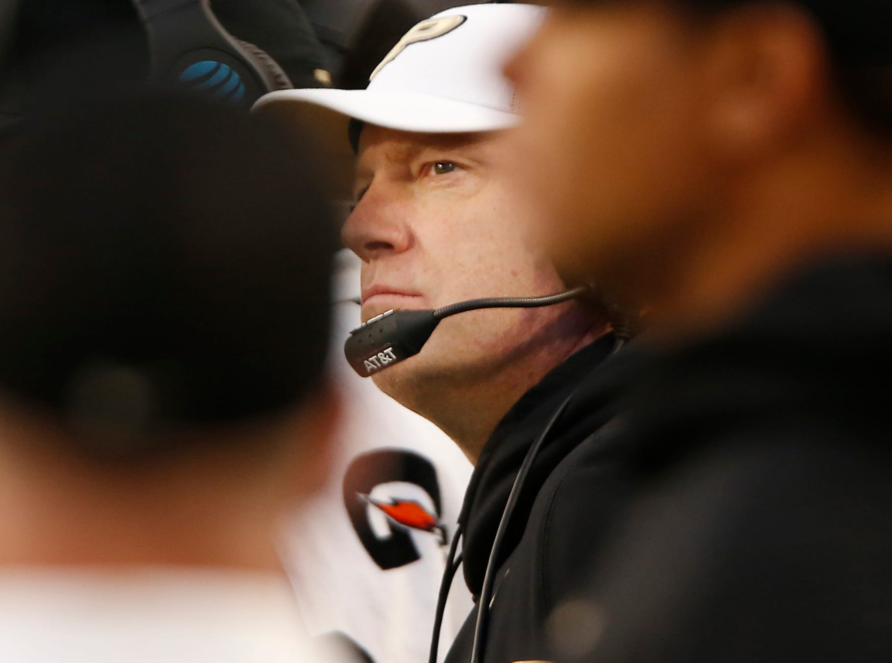 Purdue head coach Jeff Brohm keeps on eye on the clock as the Boilermakers battle Iowa late in regulation Saturday, November 3, 2018, at Ross-Ade Stadium. Purdue defeated Iowa 38-36.