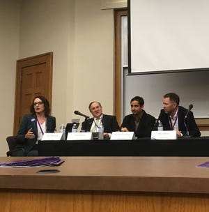 From left to right, moderator Ashley Arceneaux and panelists Chris D'Elia, Prosanta Chakrabarty and Peter Doran discussed science in times of political polarization.
