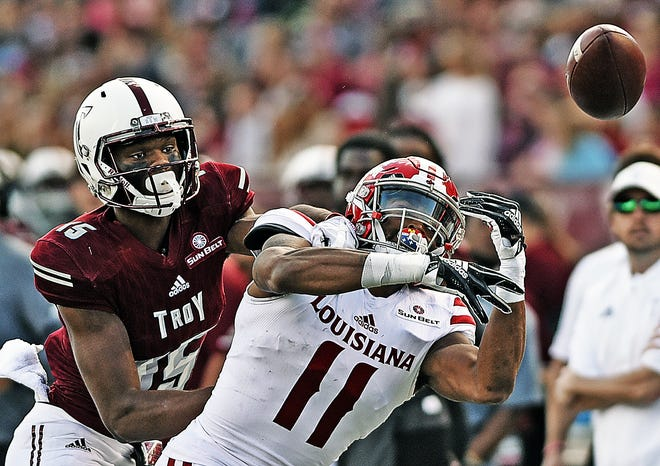 UL cornerback Michael Jacquet III breaks up a pass during last season's loss at Troy. After missing one game with an injury, Jacquet is expected to return against the Trojans on Saturday.