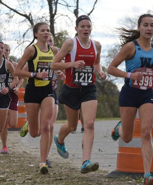 Noelle Adriaens (1212) finished ninth in the state Division 1 cross country meet, leading Pinckney to a third-place team finish.
