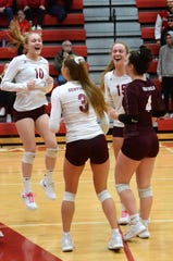 Charyl Stockwell's Carolina Curcuru (10), Paige Gallentine (3), Jenna Vaske (15) and Theresa Kehn (4) celebrate the final point in a district championship victory over Whitmore Lake on Friday, Nov. 2, 2018.