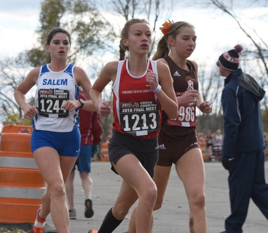 Pinckney's Vivi Eddings (1213) finished 21st in the state Division 1 cross country meet on Saturday, Nov. 3, 2018.