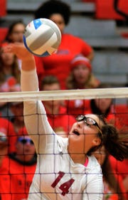 Lila Splavec had eight kills and 14 digs for Charyl Stockwell in a district volleyball championship victory over Whitmore Lake on Friday, Nov. 2, 2018.