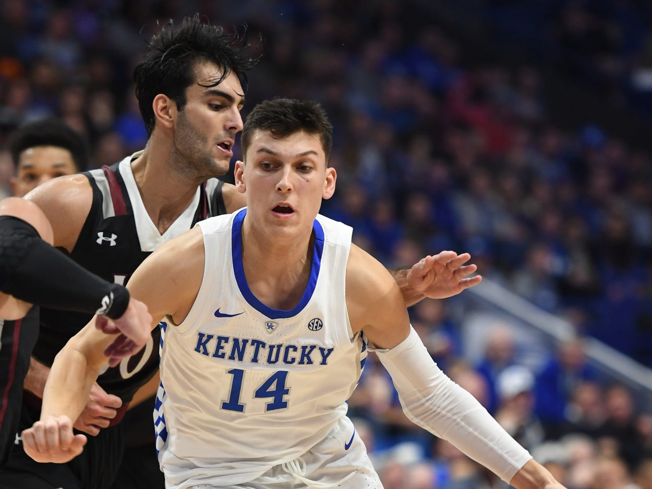 Tyler Herro drives with the ball during the University of Kentucky  basketball game against Indiana University of Pennsylvania at Rupp Arena on Friday, Nov. 2, 2018.