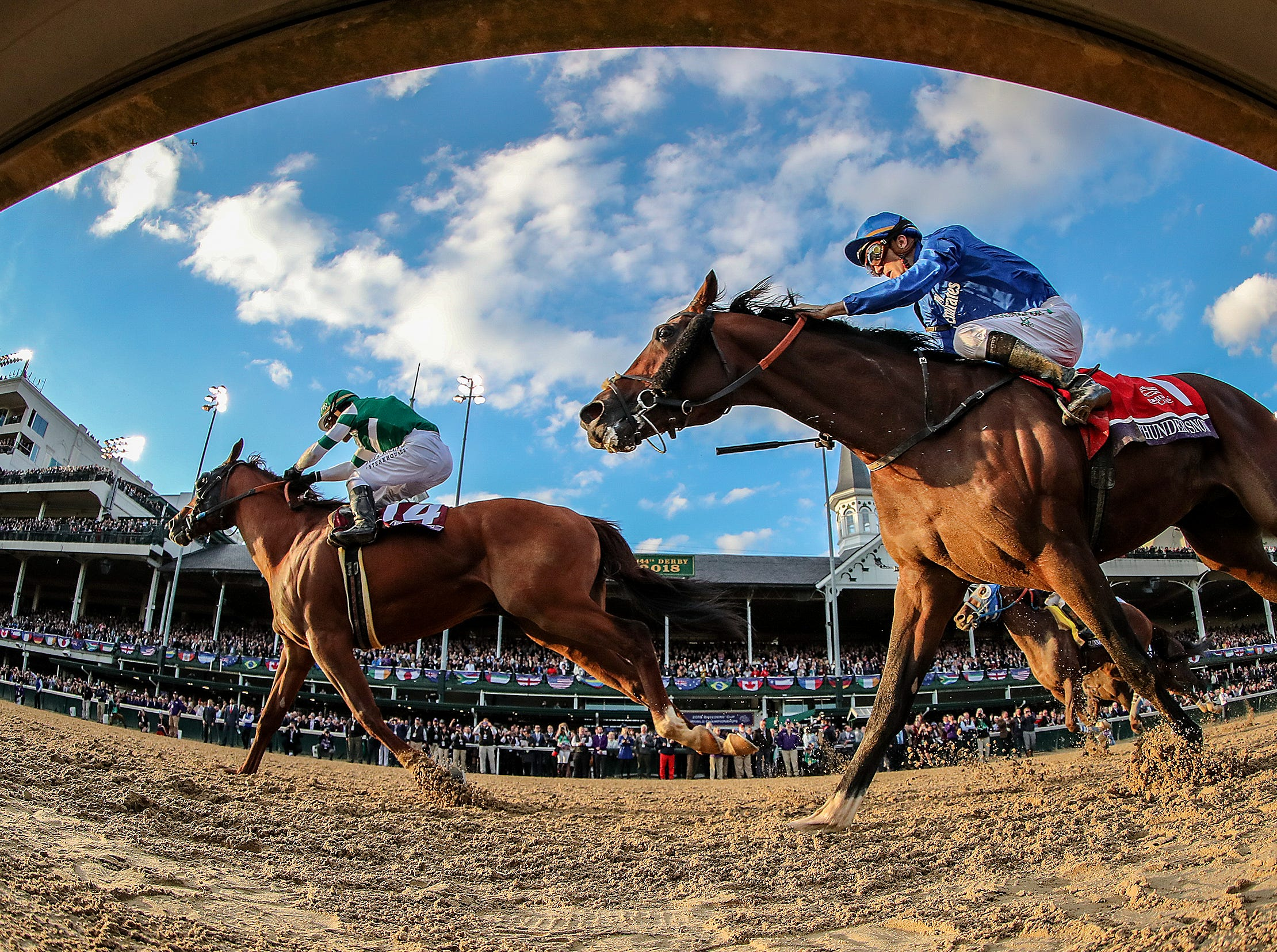 Accelerate, left, with Joel Rosario up, wins the Breeders' Cup Classic at Churchill Downs on Saturday.