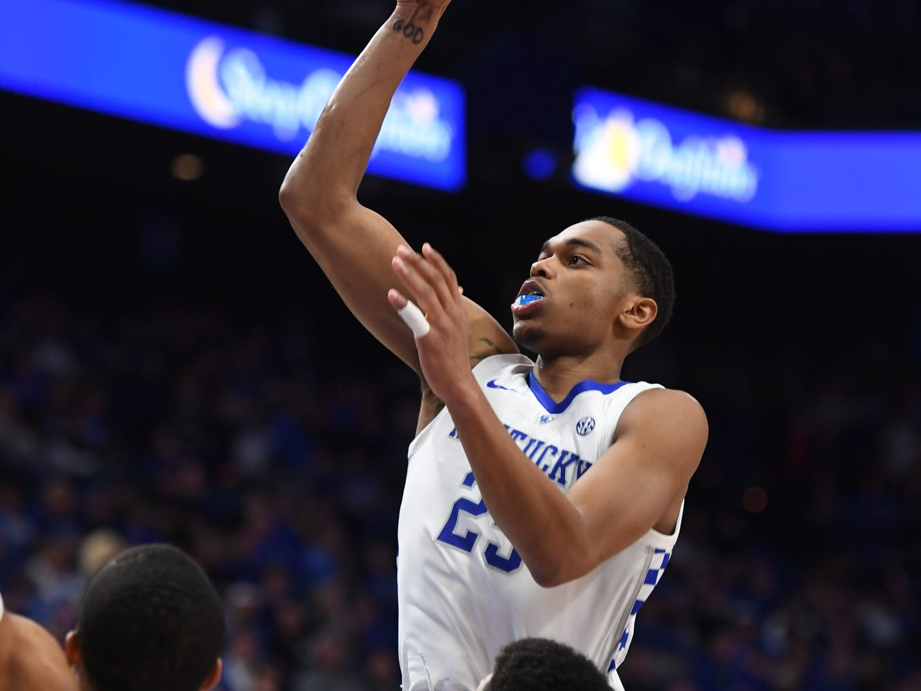 PJ Washington puts up the ball during the University of Kentucky basketball game against Indiana University of Pennsylvania at Rupp Arena on Friday, Nov. 2, 2018.
