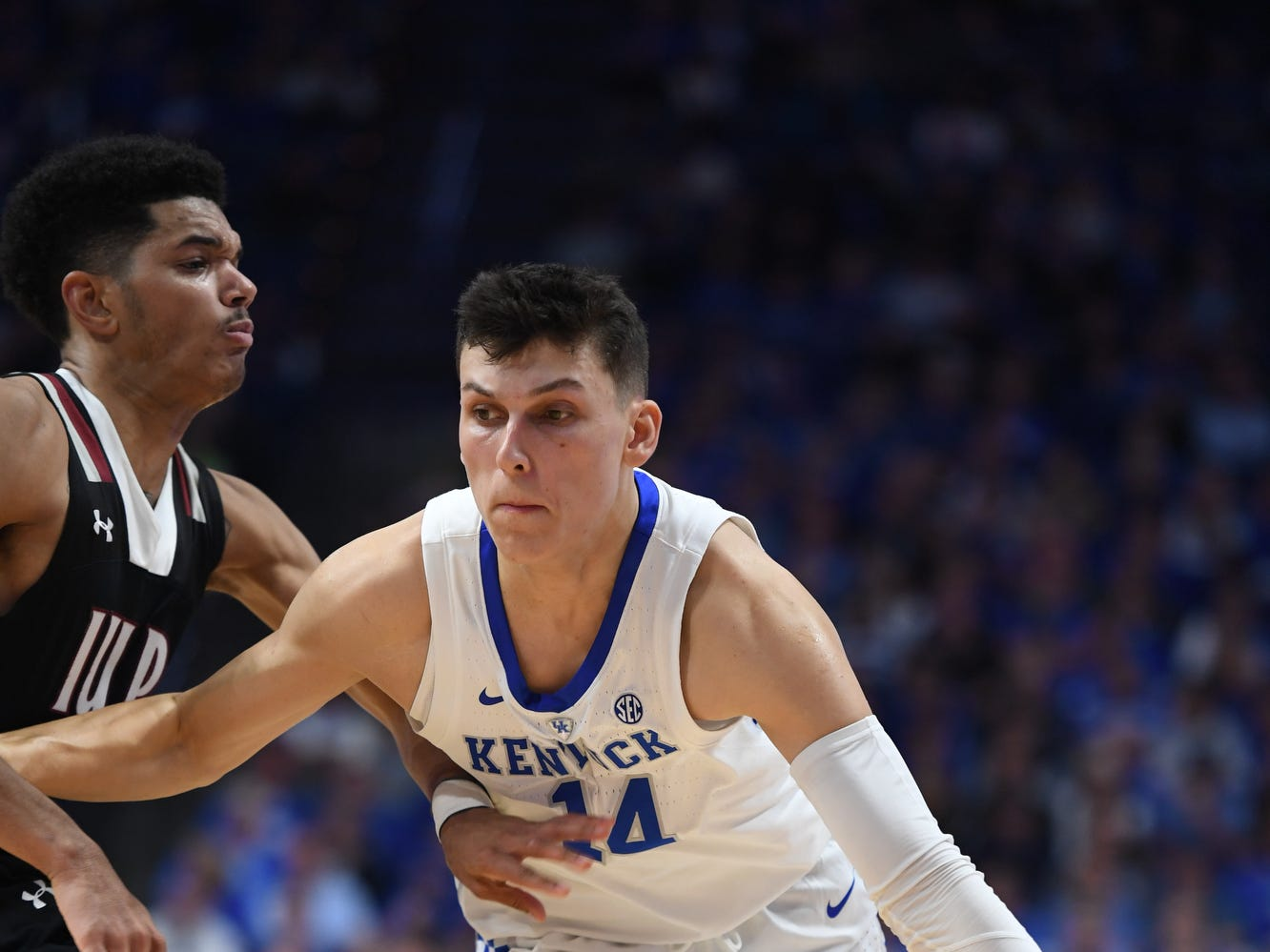 Tyler Herro drives during the University of Kentucky basketball game against Indiana University of Pennsylvania at Rupp Arena on Friday, Nov. 2, 2018.