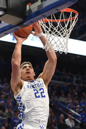 Reid Travis puts up the ball during the University of Kentucky basketball game against Indiana University of Pennsylvania at Rupp Arena in Lexington on Friday, Nov. 2, 2018.