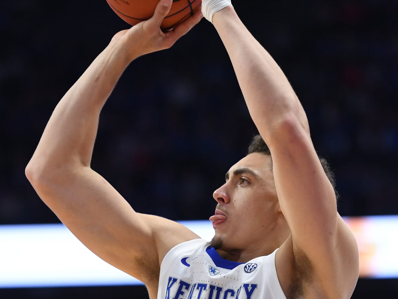Reid Travis shoots during the University of Kentucky basketball game against Indiana University of Pennsylvania at Rupp Arena on Friday, Nov. 2, 2018.
