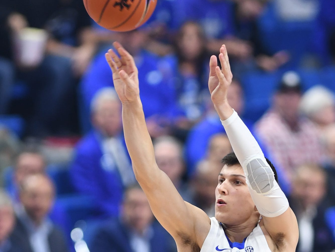Tyler Herro shoots a 3-pointer during the University of Kentucky basketball game against Indiana University of Pennsylvania at Rupp Arena on Friday, Nov. 2, 2018.