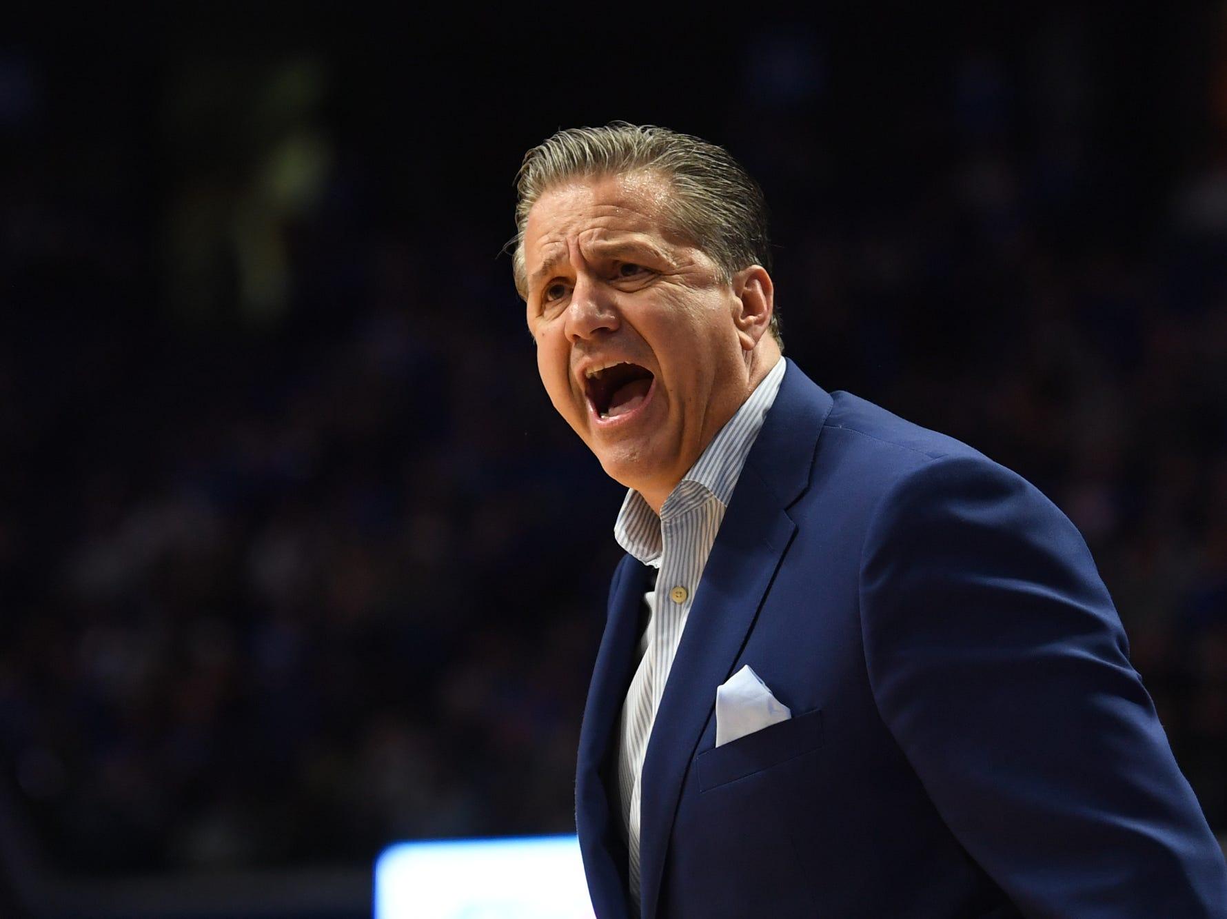 UK head coach John Calipari yells during the University of Kentucky  basketball game against Indiana University of Pennsylvania at Rupp Arena on Nov. 2, 2018.