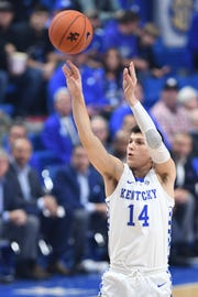 Tyler Herro shoots a 3-pointer during the University of Kentucky basketball game against Indiana University of Pennsylvania at Rupp Arena in Lexington on Friday, Nov. 2, 2018.