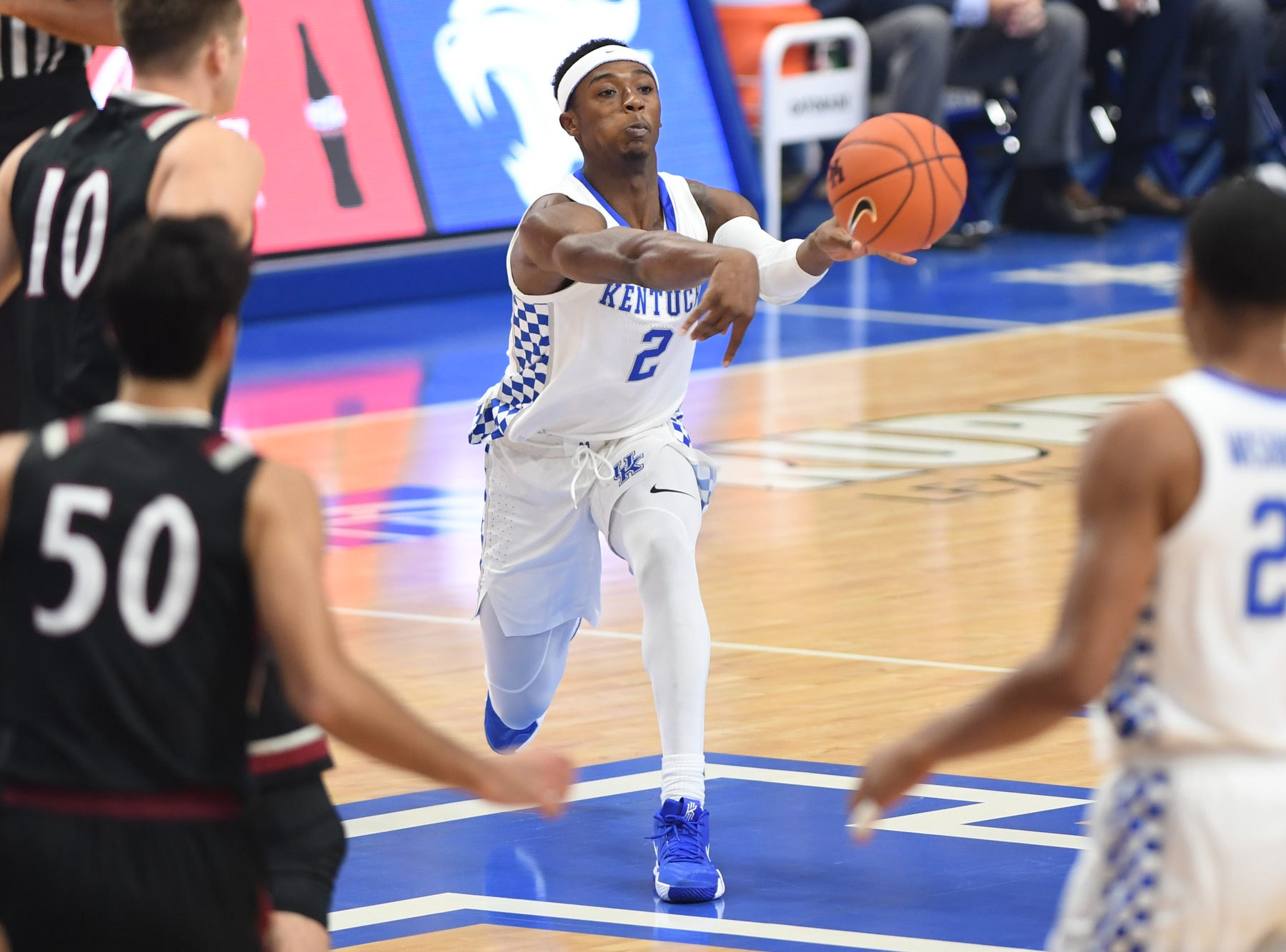 Ashton Hagans passes the ball during the University of Kentucky basketball game against Indiana University of Pennsylvania at Rupp Arena on Friday, Nov. 2, 2018.