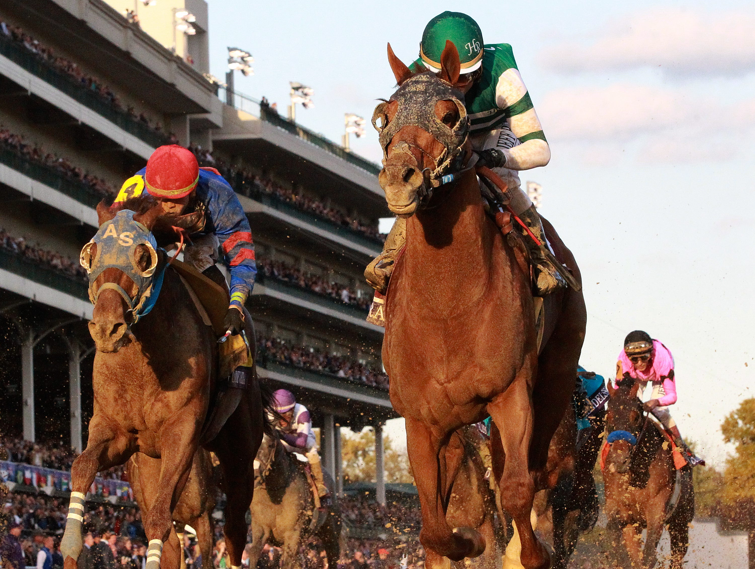 Accelerate, with Joel Rosario up, wins the Breeders' Cup Classic at Churchill Downs on Saturday.