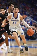 Tyler Herro drives with the ball during the University of Kentucky basketball game against Indiana University of Pennsylvania at Rupp Arena in Lexington on Friday, Nov. 2, 2018.