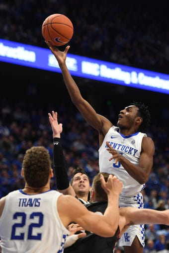 Immanuel Quickley lays up the ball during the University of Kentucky basketball game against Indiana University of Pennsylvania at Rupp Arena on Friday, Nov. 2, 2018.