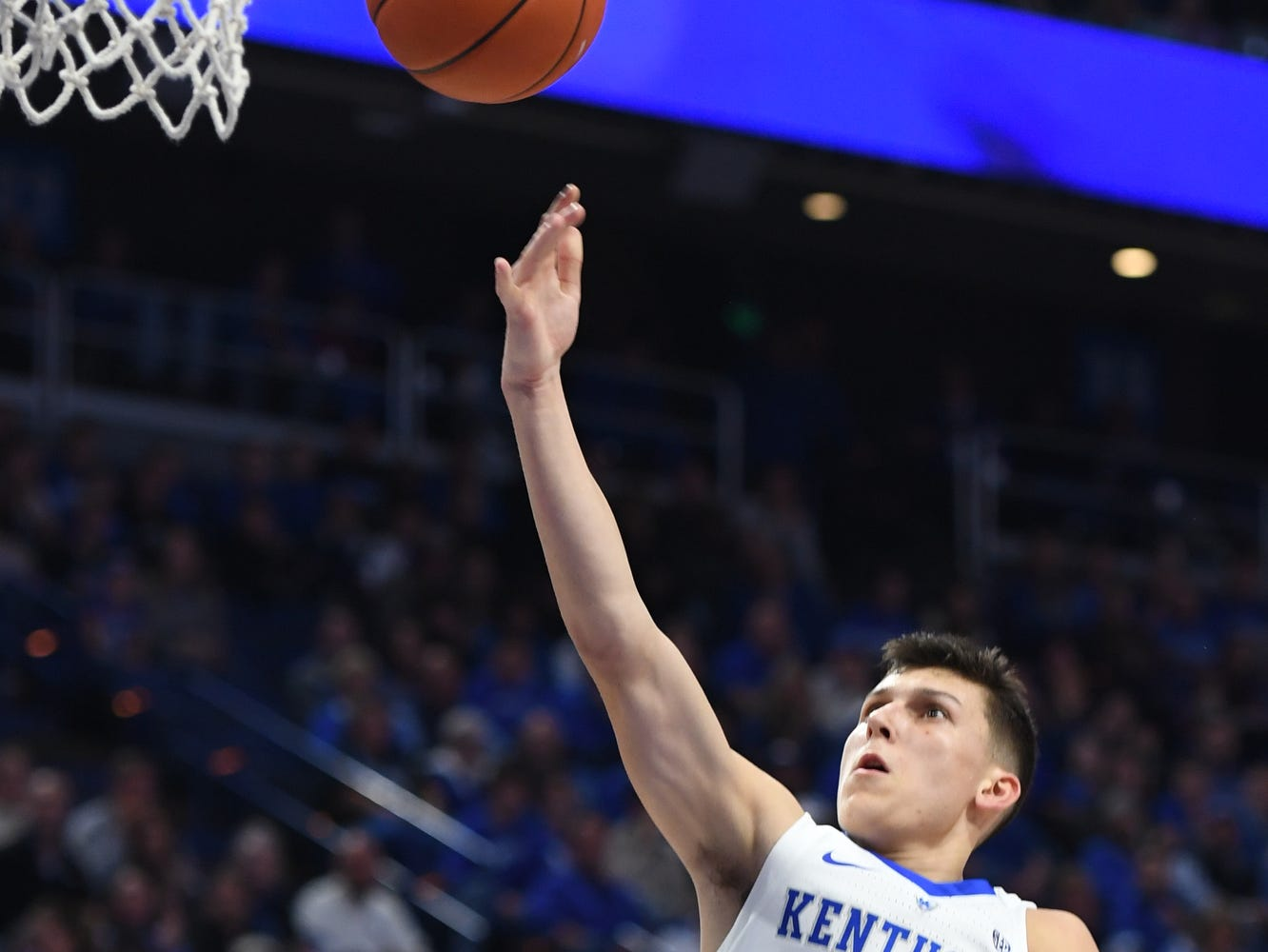 Tyler Herro lays the ball up during the University of Kentucky  basketball game against Indiana University of Pennsylvania at Rupp Arena on Friday, Nov. 2, 2018.