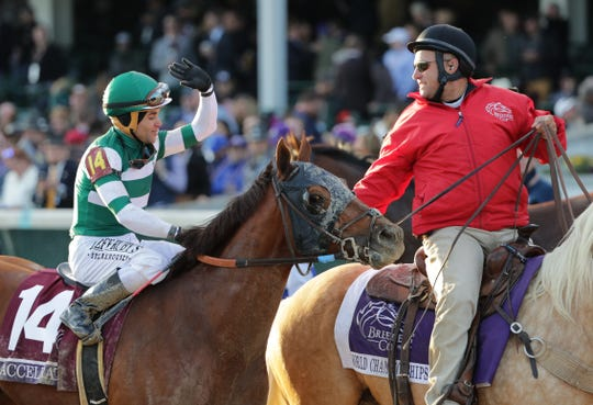 Jockey Joel Rosario is congratulated after winning the Breeders' Cup Classic aboard Accelerate. Nov. 3, 2018.