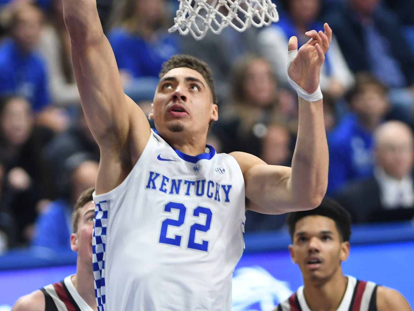 Reid Travis lays the ball up during the University of Kentucky  basketball game against Indiana University of Pennsylvania at Rupp Arena on Friday, Nov. 2, 2018.