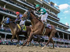 Accelerate, with Joel Rosario up, wins the Breeders' Cup Classic at Churchill Downs on Saturday.November 3, 2018