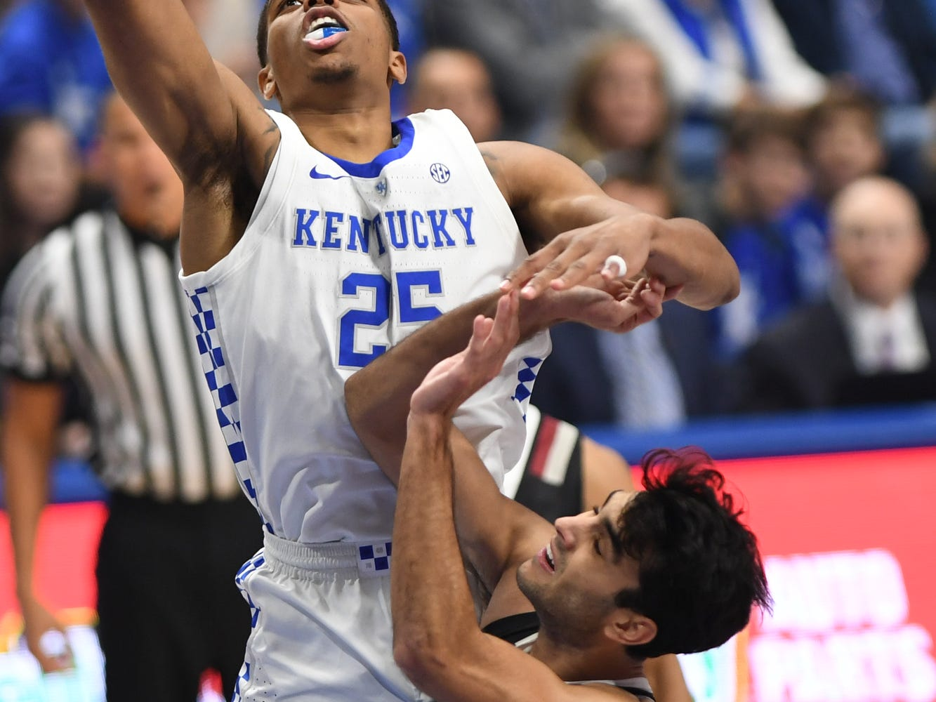 PJ Washington lays up the ball during the University of Kentucky basketball game against Indiana University of Pennsylvania at Rupp Arena on Friday, Nov. 2, 2018.