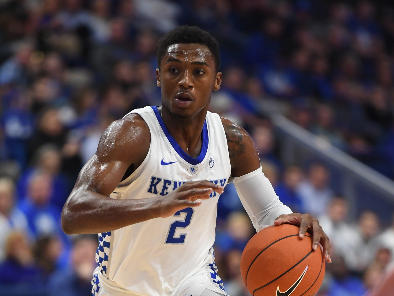 Ashton Hagans drives with the ball during the University of Kentucky  basketball game against Indiana University of Pennsylvania at Rupp Arena on Friday, Nov. 2, 2018.