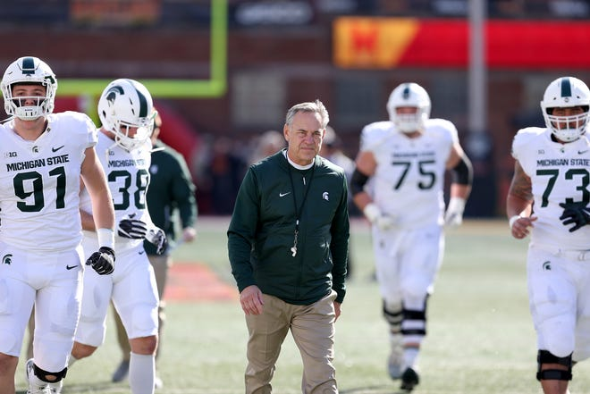 Head coach Mark Dantonio of the Michigan State Spartans looks on prior to playing against the Maryland Terrapins at Capital One Field on November 3, 2018 in College Park, Maryland.
