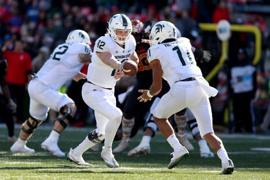 Rocky Lombardi played the final four possessions for Michigan State on Saturday at Maryland.