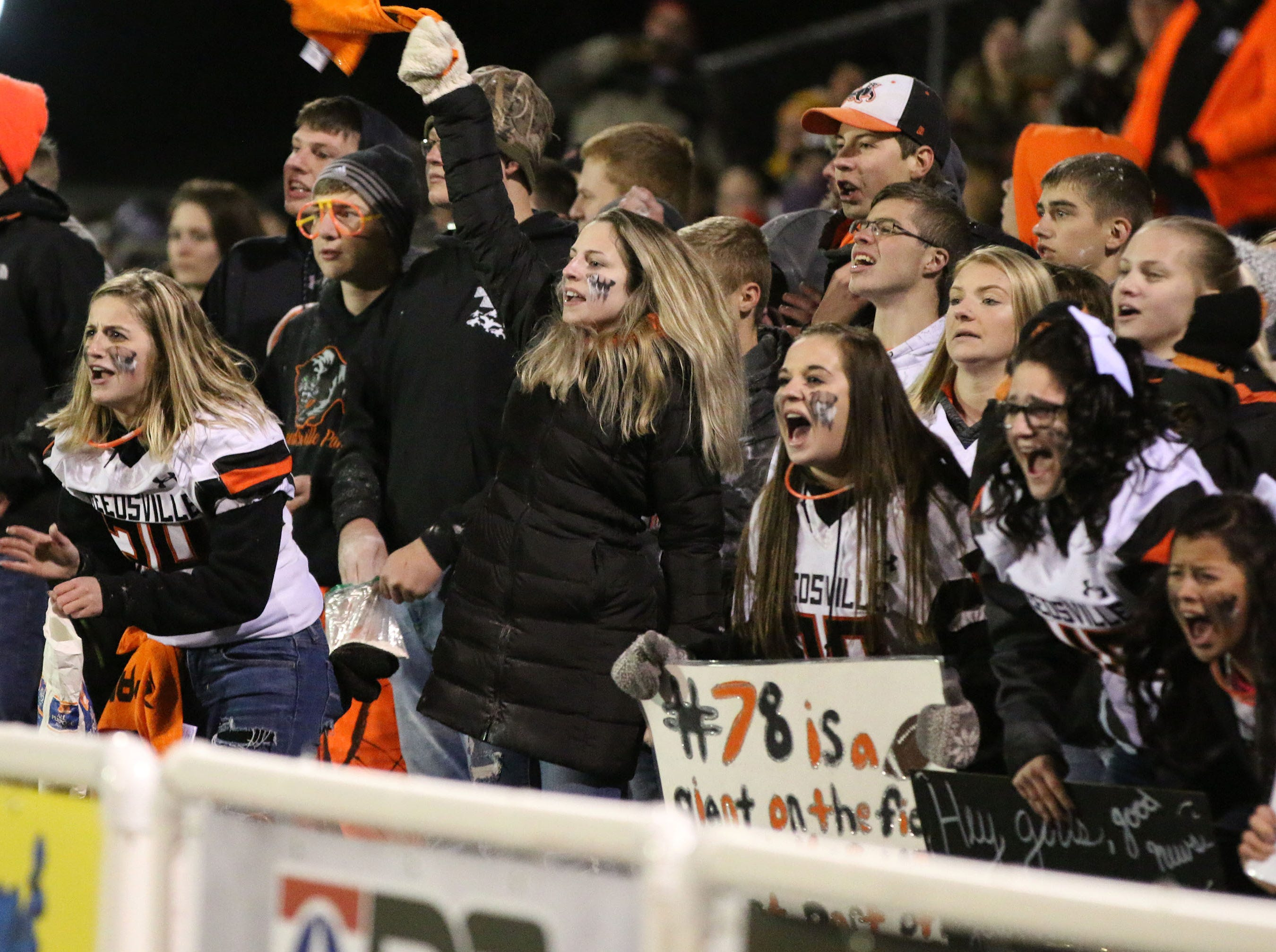 Reedsville fans are pumped up in final seconds against Pittsville, Friday, November 2, 2018, in Reedsville, Wis.