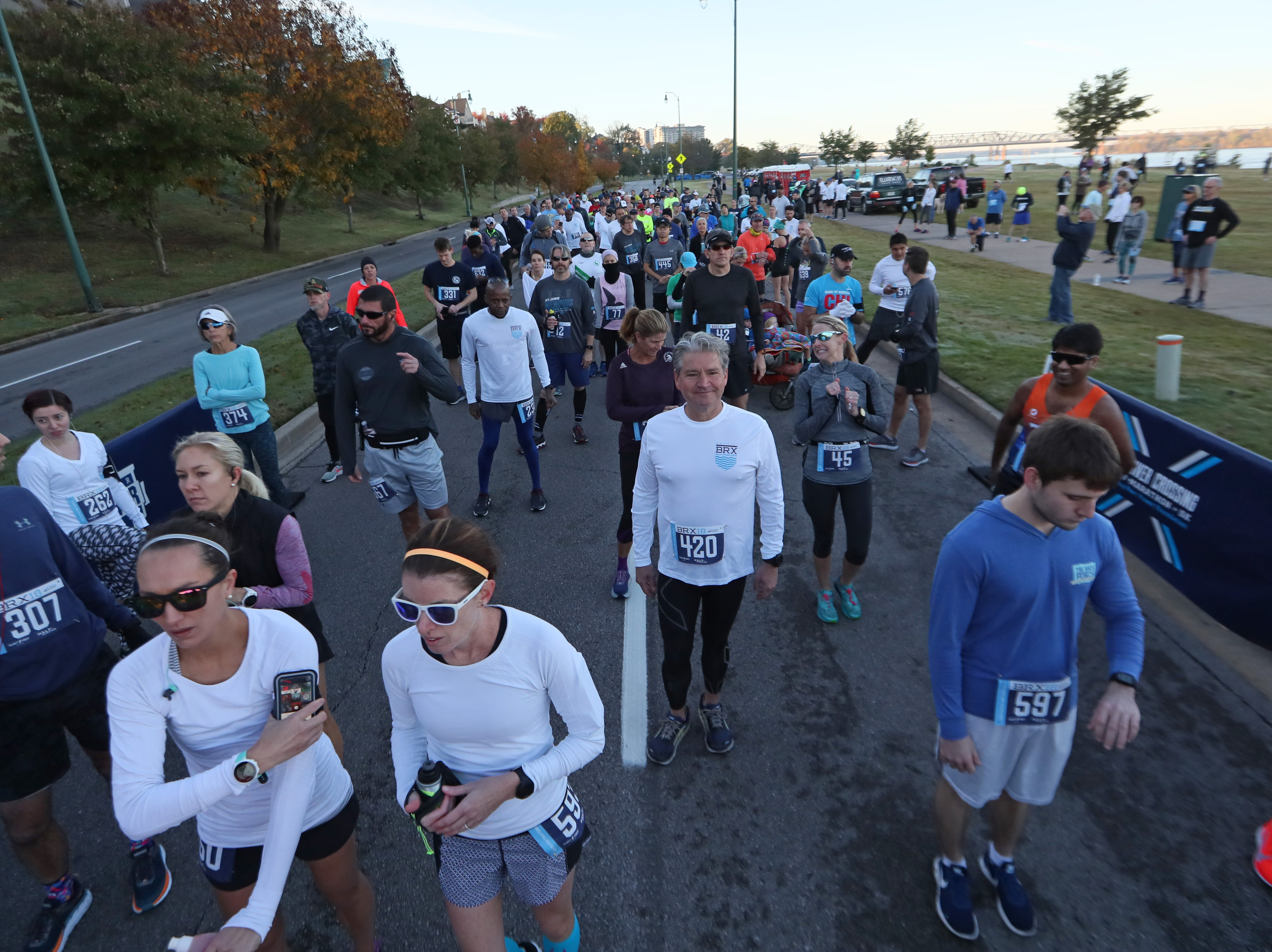 Runners await the start of the Big River Crossing Half-Marathon and 5K downtown Memphis Saturday, November 3, 2018.