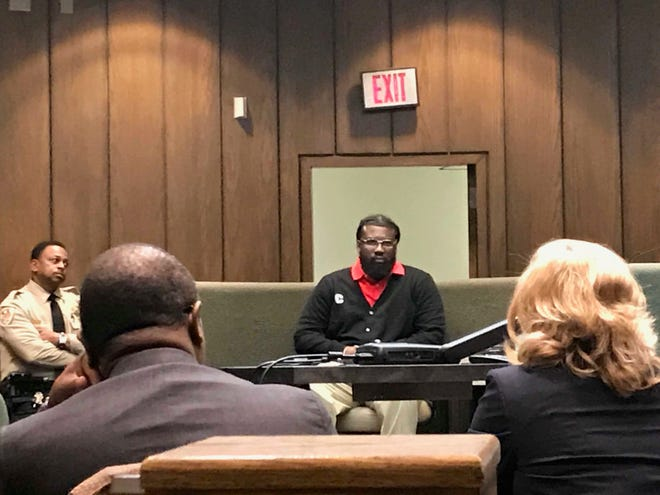 Tremaine Wilbourn is questioned on Saturday away from the jury during his first-degree murder trial. Wilbourn chose not to tell the jury what happened the night he shot Memphis police officer Sean Bolton.