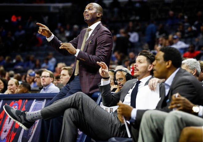 Memphis head coach Penny Hardaway (top) during action against CBU at the FedExForum in Memphis Tenn., Thursday, November 2, 2018.