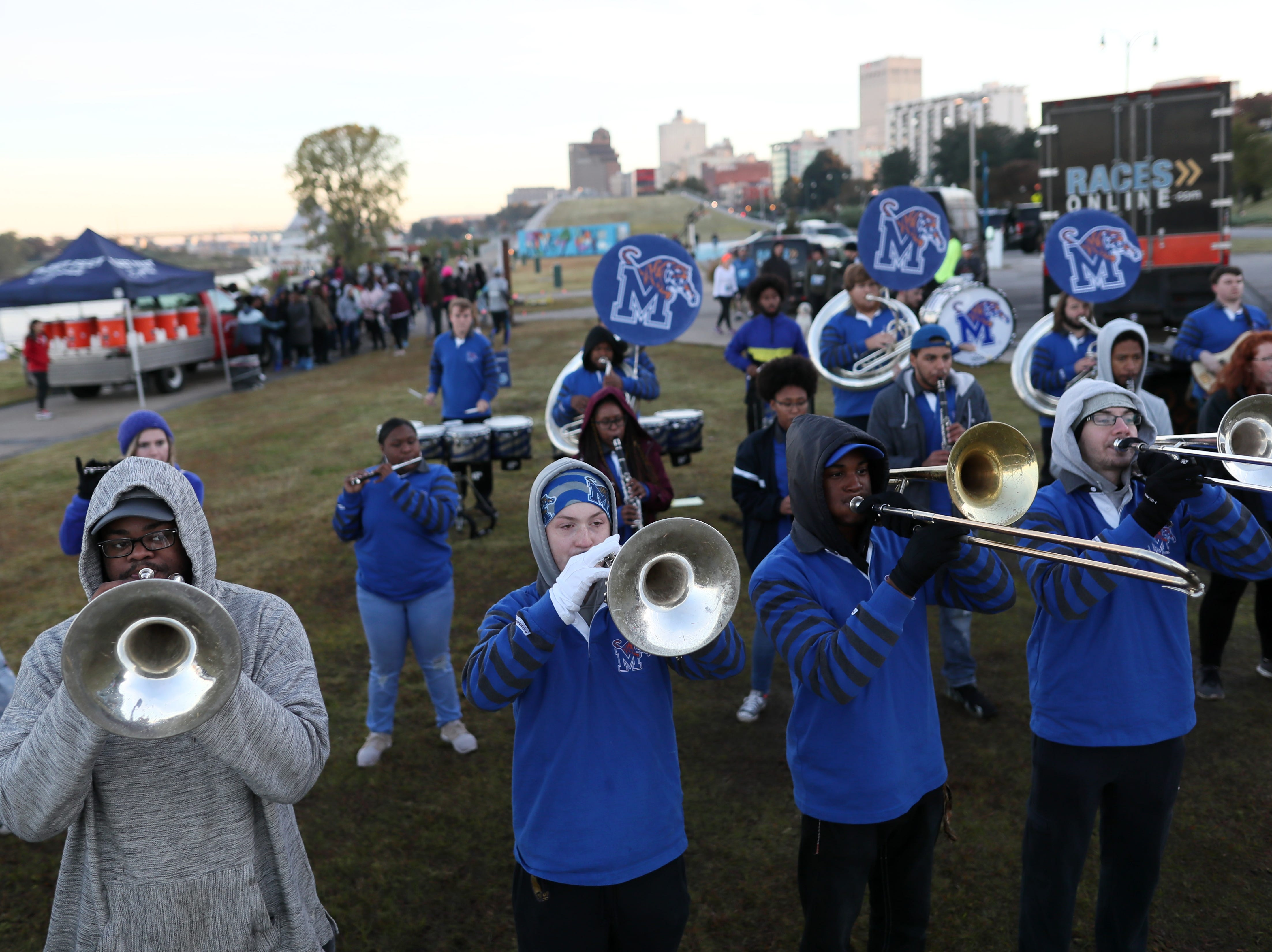 Mighty Sound of the South plays to kick things off for the Big River Crossing Half-Marathon and 5K run downtown Memphis Saturday, November 3, 2018.