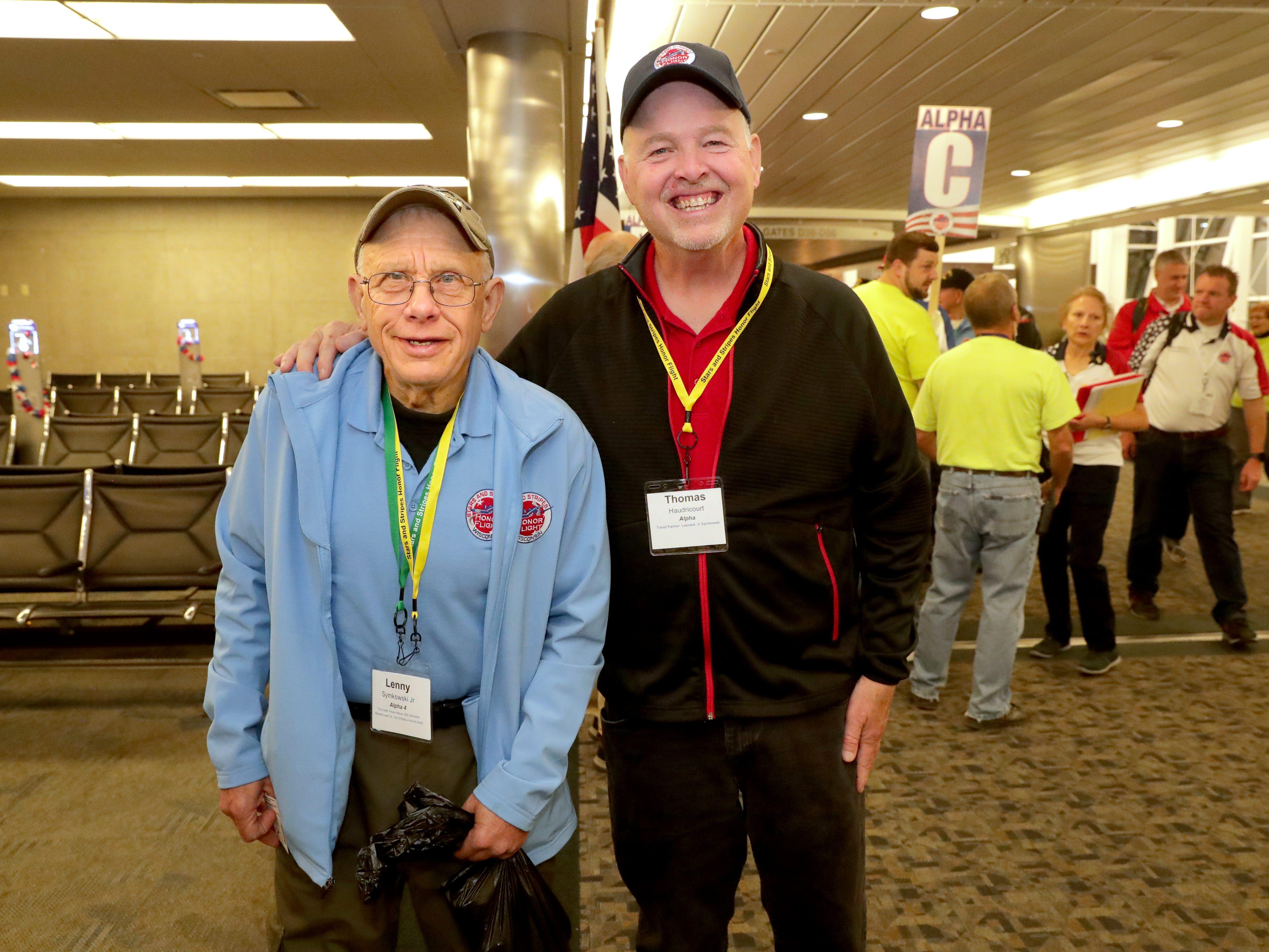 Milwaukee Journal Sentinel Brewers beat writer Tom Hardricourt with Vietnam veteran Lenny Symkowski.