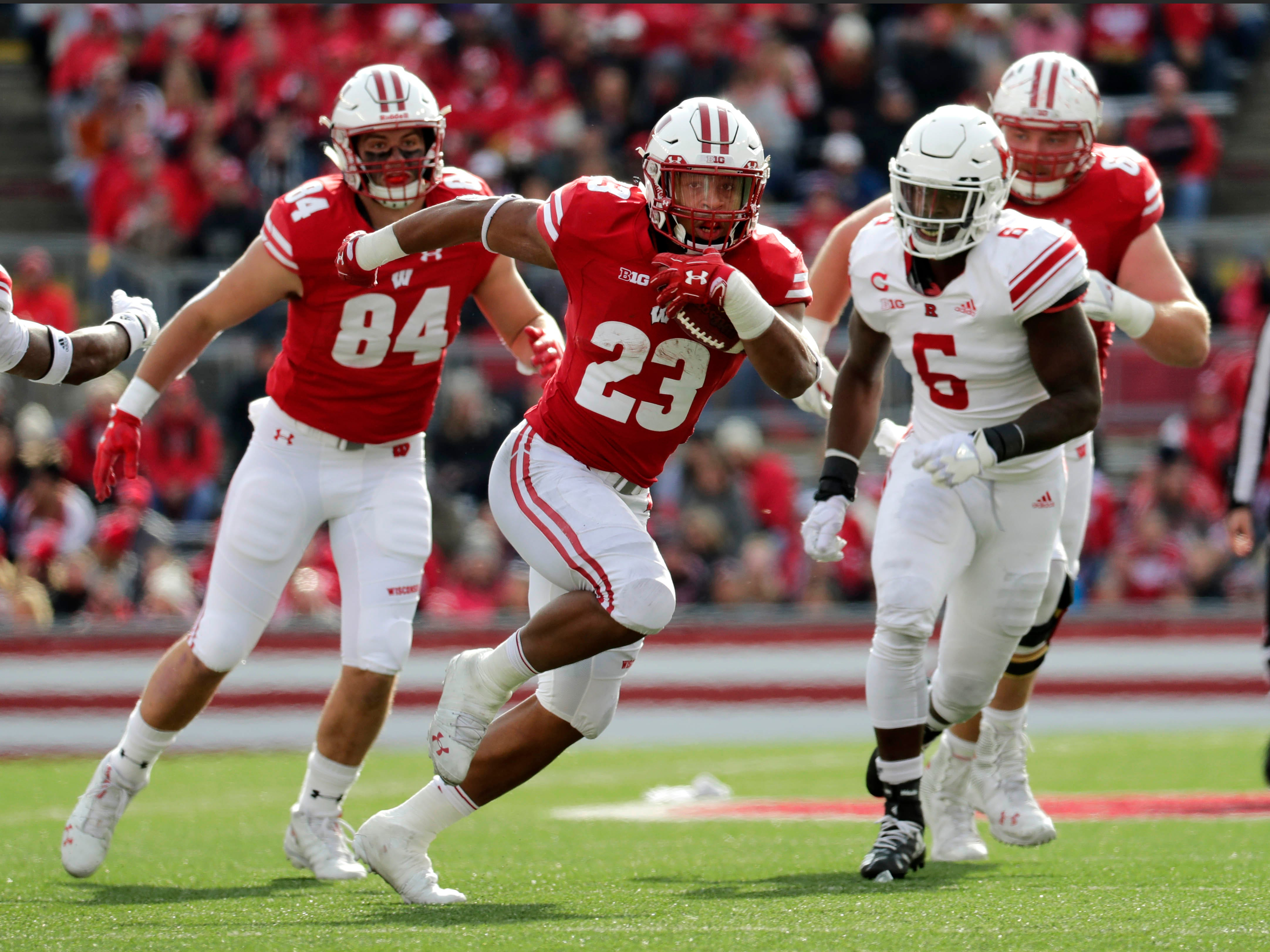 UW running back Jonathan Taylor finds room to run against Rutgers on his way to the end zone during the second half Saturday.