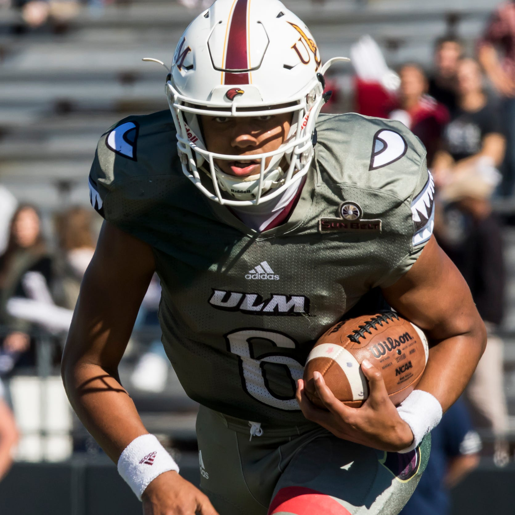University of Louisiana at Monroe quarterback Caleb Evans (6) carries the ball during the game against Georgia Southern University at Malone Stadium in Monroe, La. on Nov. 3.