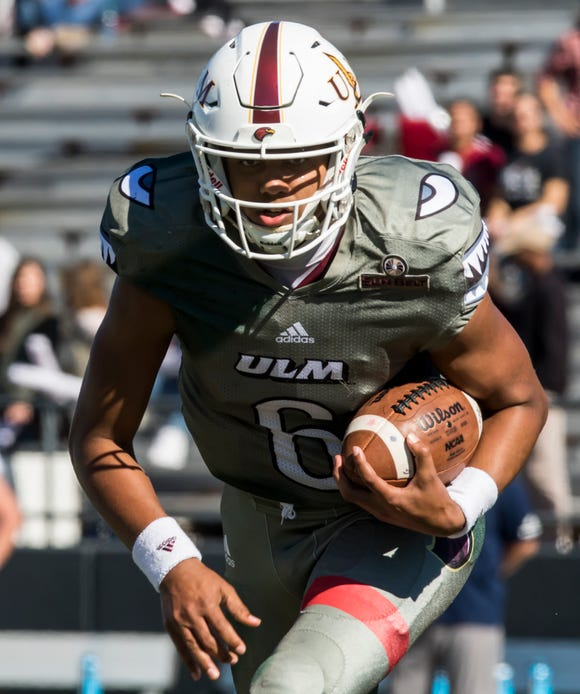 Calev Evans (6) finished the 2018 season with 2,869 yards passing and 16 touchdowns to 12 interceptions, eclipsing Doug Pederson for fifth all-time in career passing at ULM. He was also second on the team with 632 yards rushing and 10 touchdowns on 140 attempts to pass Jon Holman for third in career all-purpose yards.