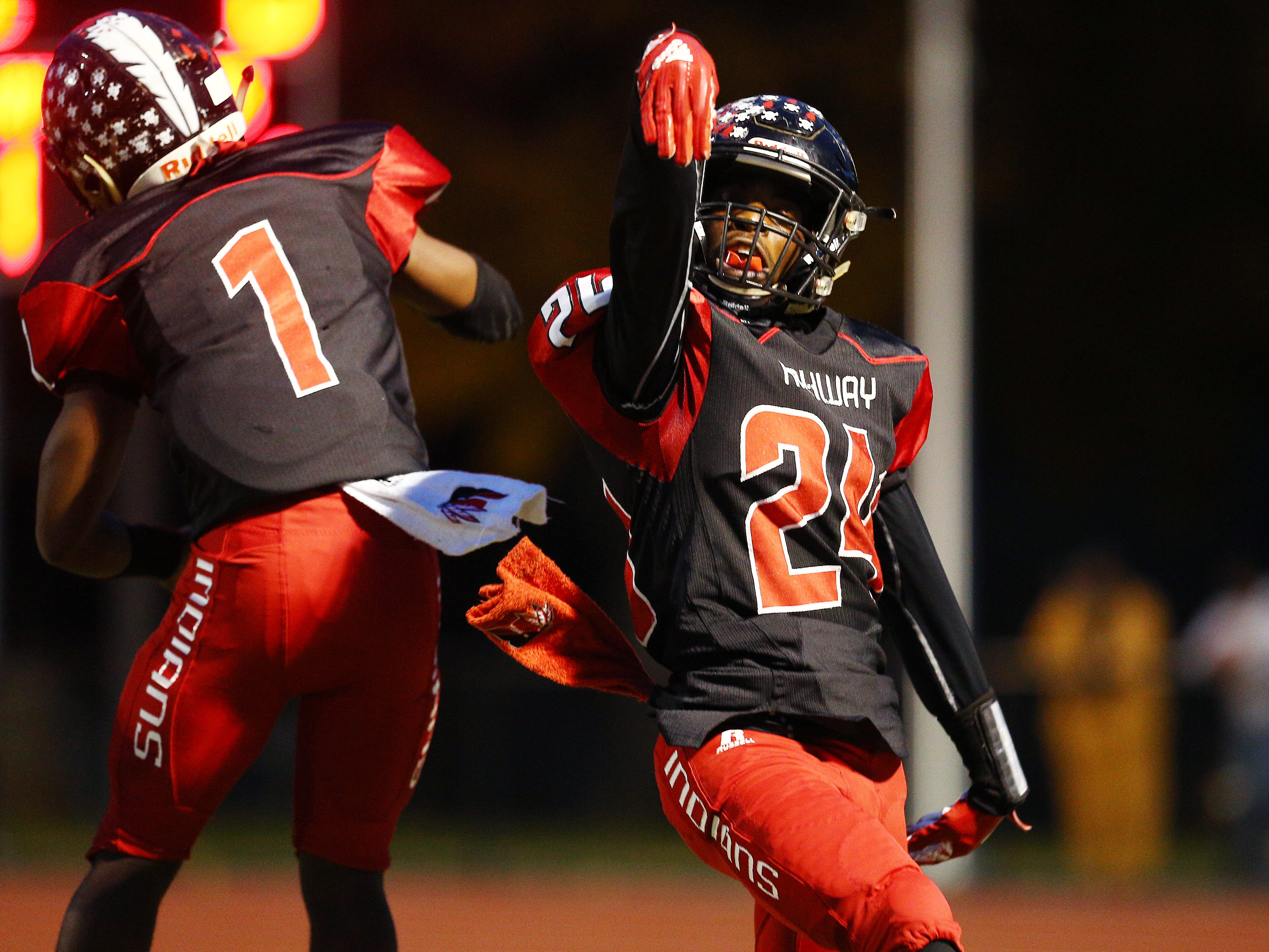 Rahway's Zi'on Pendleton celebrates his touchdown vs. Parsippany Hills during their NJSIAA North 2 Group III football quarterfinal at Rahway River Park. November 2, 2018, Rahway, NJ