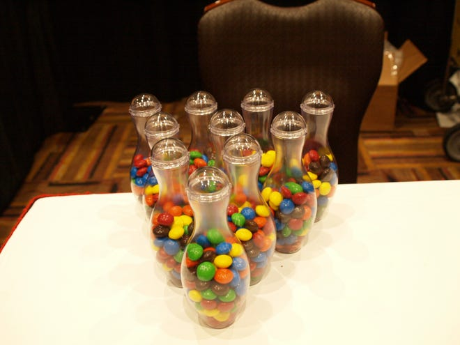 One vendor at the East Coast Bowling Centers Convention set up ten pins, M&Ms style.