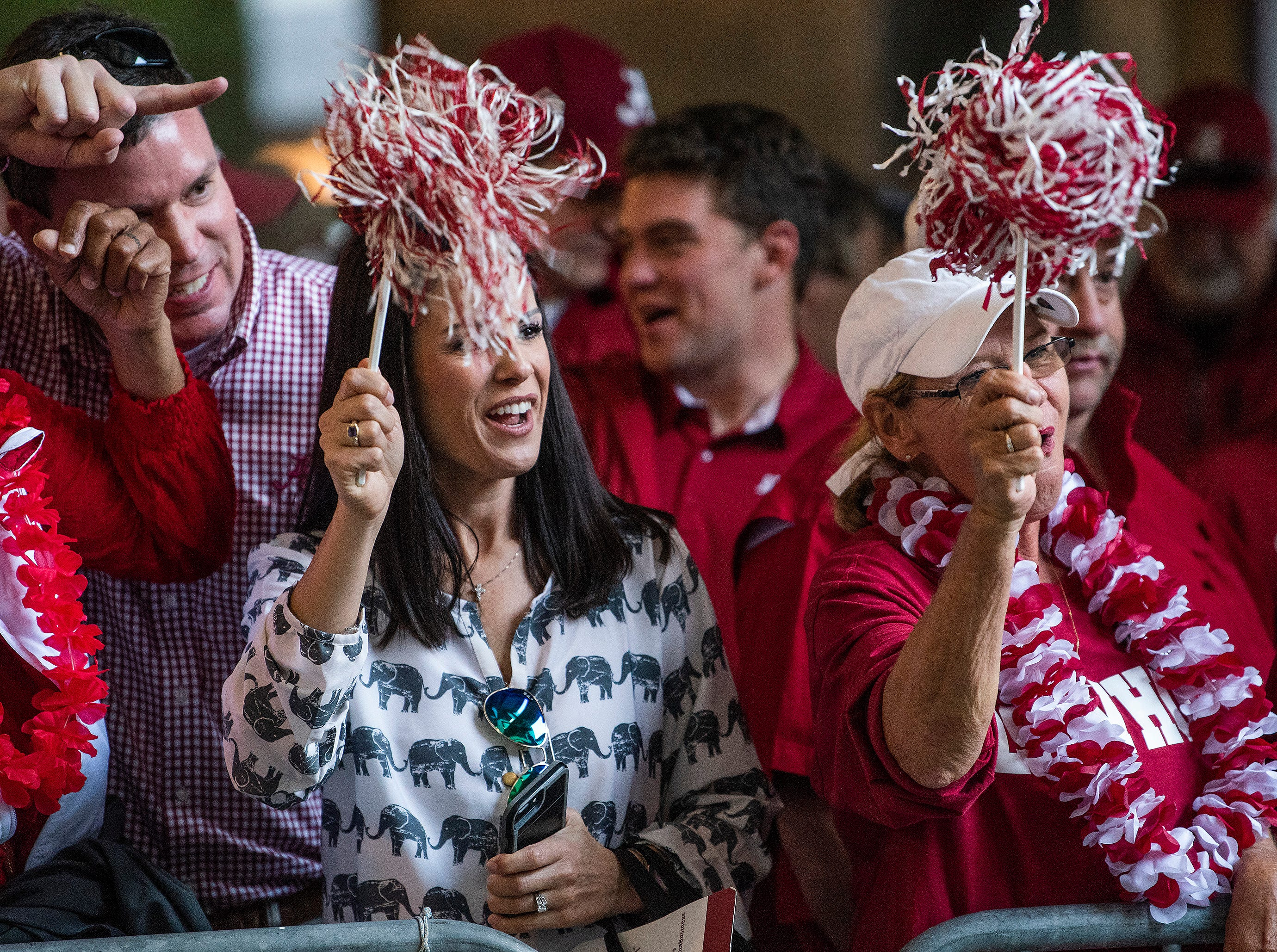 Alabama fans cheer as their team arrives before the Alabama vs. Louisiana State football game at Tiger Stadium in Baton Rouge, La., on Saturday November 3, 2018.