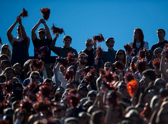 Auburn fans get pumped up at the start of the game at Jordan-Hare Stadium on Saturday, Nov. 3, 2018.