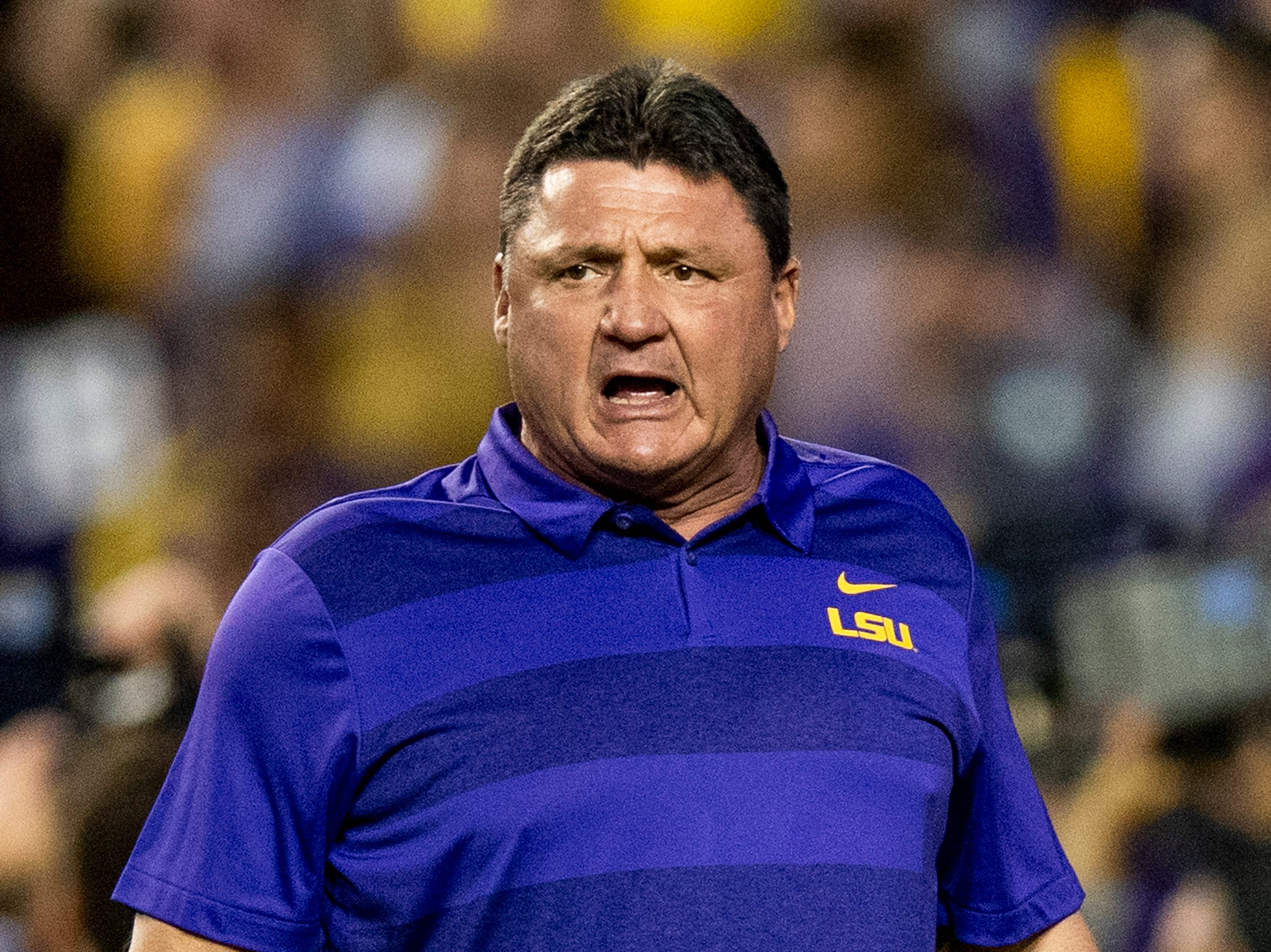 Louisiana State University head coach Ed Orgeron before the Alabama game at Tiger Stadium in Baton Rouge, La., on Saturday November 3, 2018.