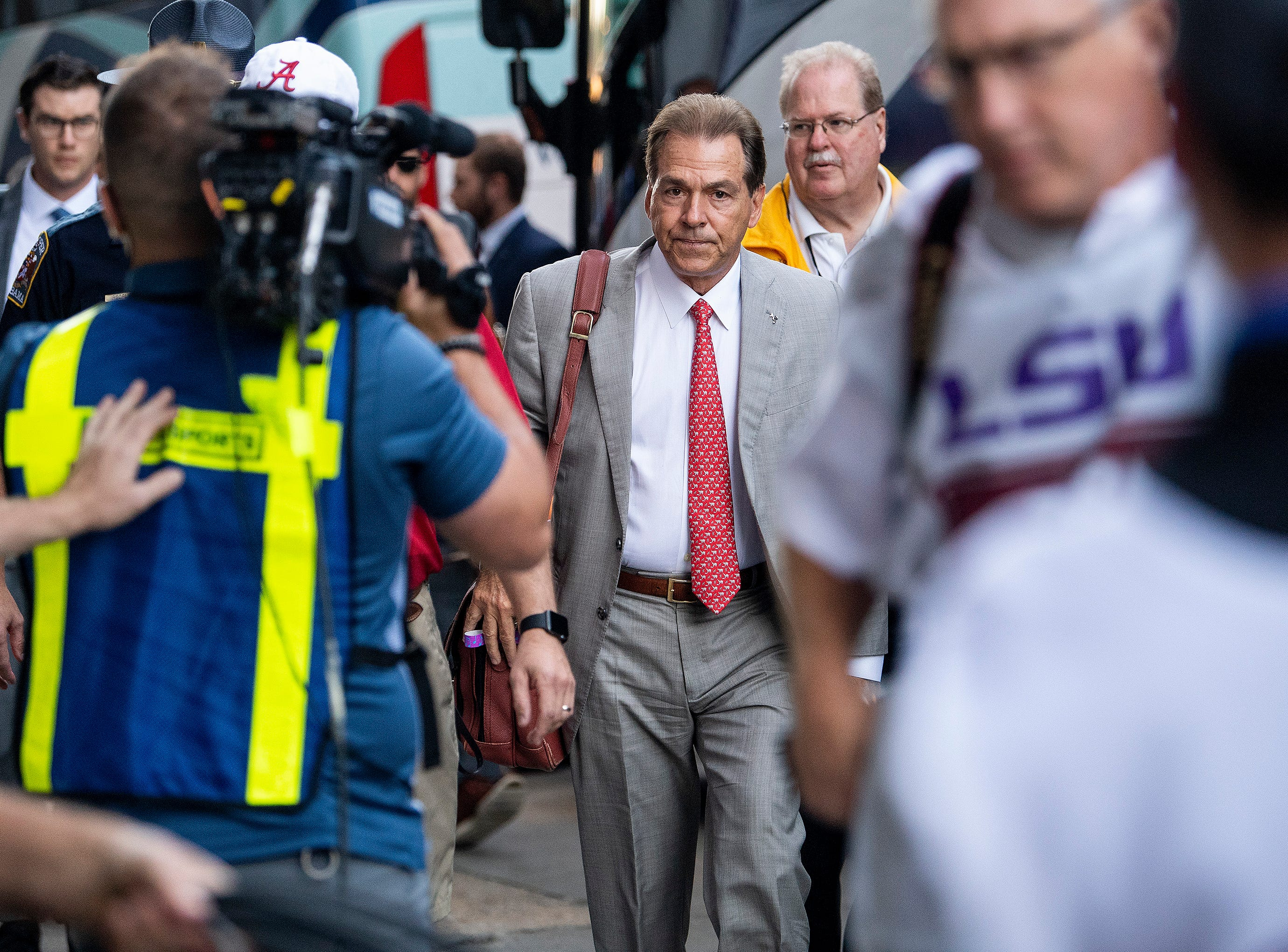 Alabama head coach Nick Saban arrives with the team before the Alabama vs. Louisiana State football game at Tiger Stadium in Baton Rouge, La., on Saturday November 3, 2018.