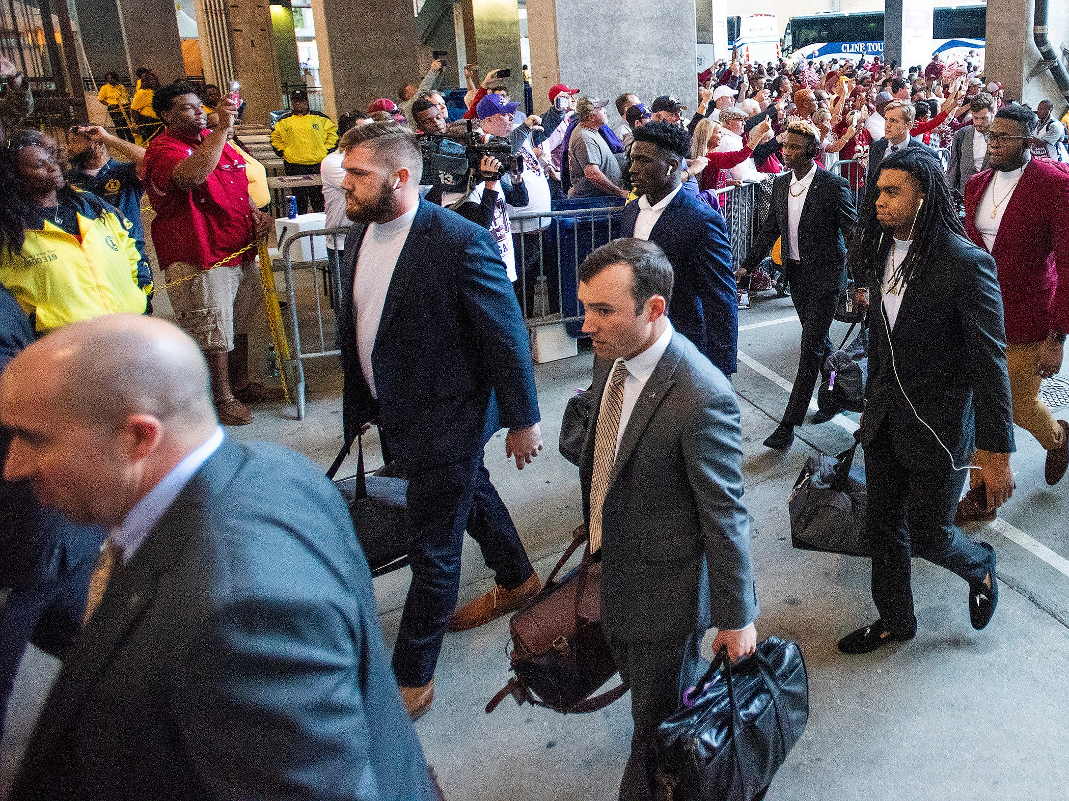 Alabama arrives before the Alabama vs. Louisiana State football game at Tiger Stadium in Baton Rouge, La., on Saturday November 3, 2018.